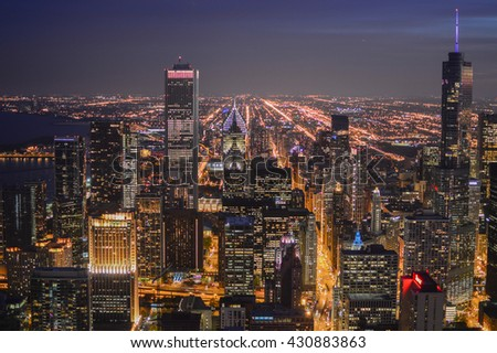 CHICAGO, UNITED STATES, OCTOBER 14, 2012 -   view of the Chicago skyline with blue sky and skyscrapers of the big city of the United States in Illinois state