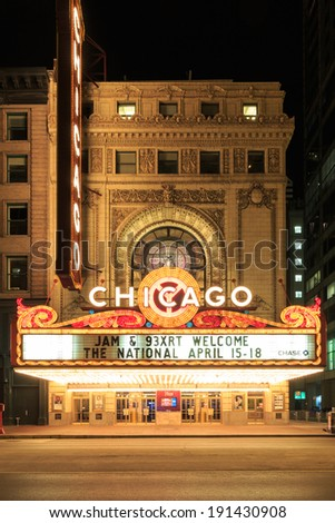 CHICAGO, USA - APRIL 18, 2014: The famous Chicago Theater on State Street in Chicago, Illinois, The iconic marquee often appears in films and television.