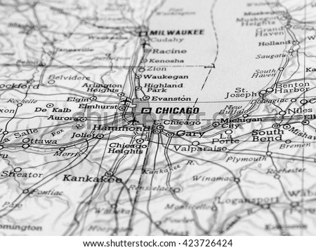 CHICAGO, USA - CIRCA APRIL 2016: Detail of a map of the city with selective focus on Chicago in black and white - stock photo