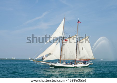 CHICAGO, USA - JULY 27, 2016: PEPSI TALL SHIPS CHICAGO 2016. Parade of Sail at Navy Pier. Madeline - Two masted Gaff Topsail Schooner
