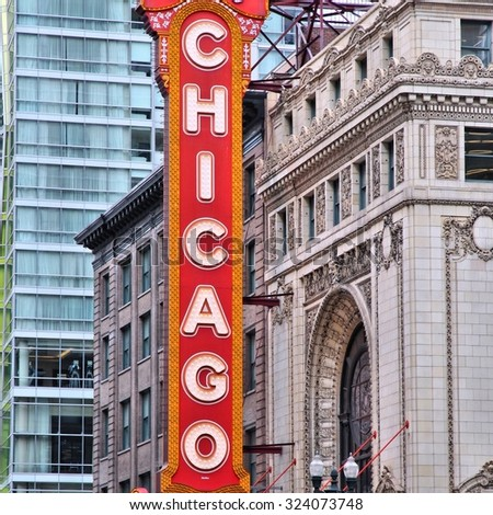 CHICAGO, USA - JUNE 26, 2013: Chicago Theatre in Chicago. Chicago Theatre was founded in 1921 and is a registered Chicago Landmark. - stock photo