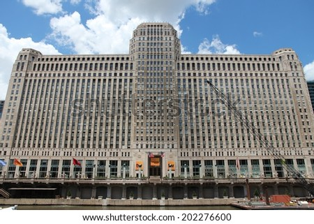 CHICAGO, USA - JUNE 28, 2013: Merchandise Mart building exterior. It was largest building in the world at the time of completion (1930) with 4,000,000 square feet of area. - stock photo