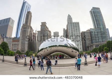 "CHICAGO, USA - JUNE 4, 2016: The Cloud Gate sculpture, also known as ""the Bean"", is a tourist magnet and a must see for anyone planning a memorable visit to the ""windy city""."