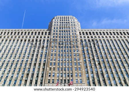 CHICAGO, USA - MAY 24, 2014: The Merchandise Mart in Downtown seen from Chicago river. - stock photo