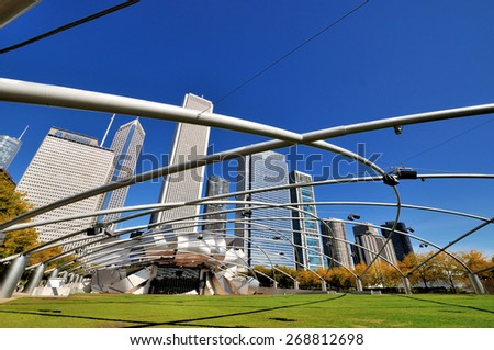 CHICAGO, USA - OCTOBER 6: Chicago Pritzker Pavilion in Millennium Park in downtown of Chicago, Illinois, in October 6th, 2014.Chicago is the biggest city in North of USA.