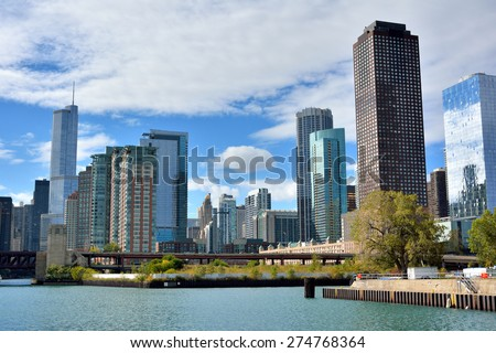 CHICAGO, USA - OCTOBER 6: City views at entry of Michigan lake from Chicago river in downtown of Chicago, Illinois, in October 6th, 2014.Chicago is the biggest city in North of USA.