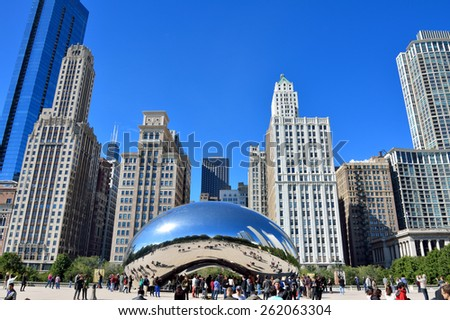 CHICAGO, USA - OCTOBER 6: Famous Slivery Bean sculpture in Chicago Millennium Park in Chicago, Illinois, in October 6th, 2014.Chicago is the biggest city in North of USA. - stock photo