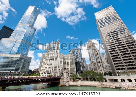 CHICAGO, USA - SEPTEMBER 15: Modern buildings in the Chicago Loop on September 15, 2011 in Chicago. The Loop is one of Chicago district and the seat of Chicago's government.