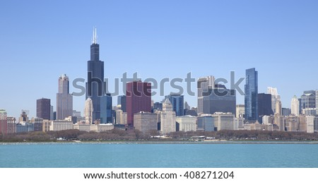 Chicago view from the lake - stock photo