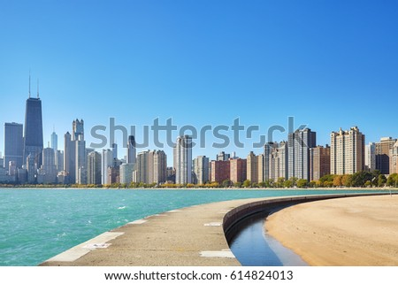 Chicago waterfront skyline on a beautiful day, USA.