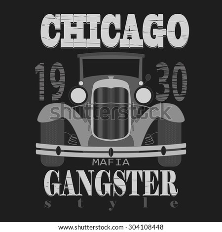 Chicagol t-shirt graphic design. Gangster style emblem  - stock photo