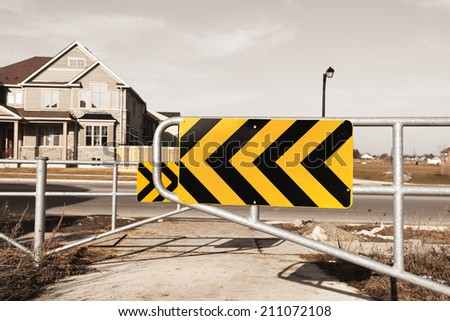 Chicane at the entrance of a pedestrian area - stock photo
