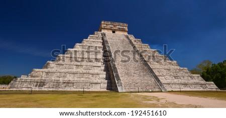 Chichen Itza Kukulkan pyramid El Castillo - stock photo