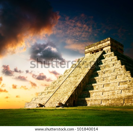 Chichen Itza Mayan Pyramid - stock photo