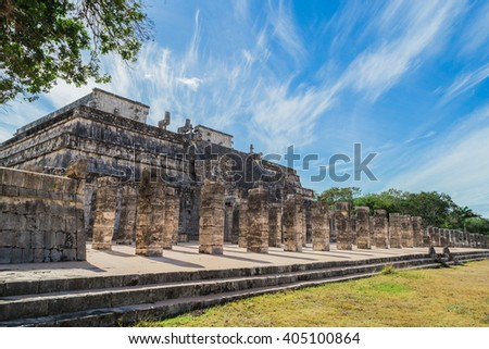 Chichen Itza. Mayan ruins, Columns in the Temple of a Thousand Warriors Yucatan, Mexico - stock photo