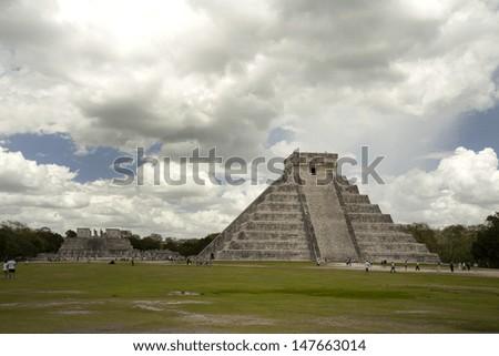 Chichen Itza, Mayan ruins in Mexico - stock photo