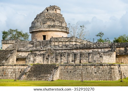 Chichen Itza observatory El Caracol ruins in Mexico - stock photo