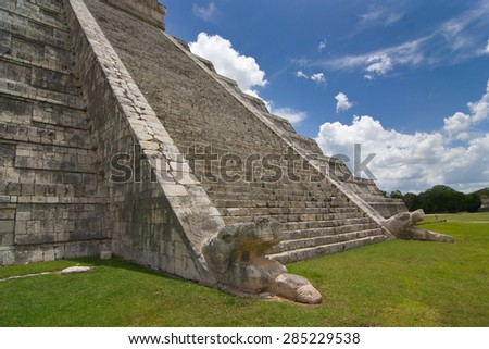 Chichen itza pyramid detailed view of stairs in a blue sky, white clouds  day  - stock photo