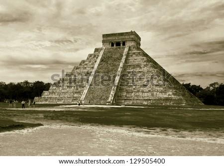 Chichen Itza pyramid, Mexico (stylized retro) - stock photo