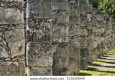Chichen Itza, Yucatan, Mexico, 2007. Ancient columns.