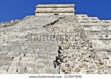 Chichen Itza, Yucatan, Mexico, 2007. Stairs of ancient buildings built by the Mayas.