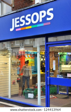 CHICHESTER, ENGLAND - JANUARY 12: National camera retailer Jessops closes its doors on all shops after falling into administration on January 12, 2013 in Chichester, England - stock photo