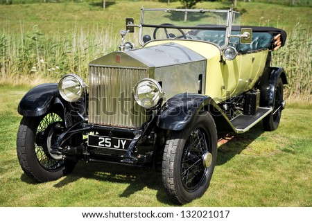 CHICHESTER, WEST SUSSEX - CIRCA 2011 - A vintage Rolls Royce motor car is on display at a car show circa 2011 in Chichester. Rolls Royce sales have continued to climb in recent economic uncertainty