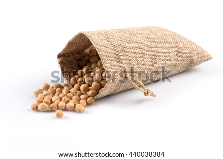 Chick-pea in hessian sack. Beans isolated on a white background. Close-up. - stock photo