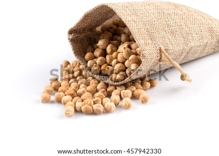 Chick-pea in hessian sack. Beans isolated on a white background. Close-up.
