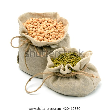 chick-pea, mung beans in sacks isolated on white background