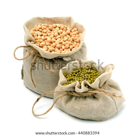 chick-pea, mung beans in sacks isolated on white background - stock photo
