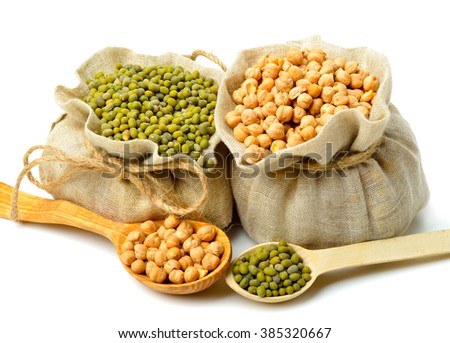 Chick-pea, mung beans in the sacks and spoon wooden  isolated on white background.