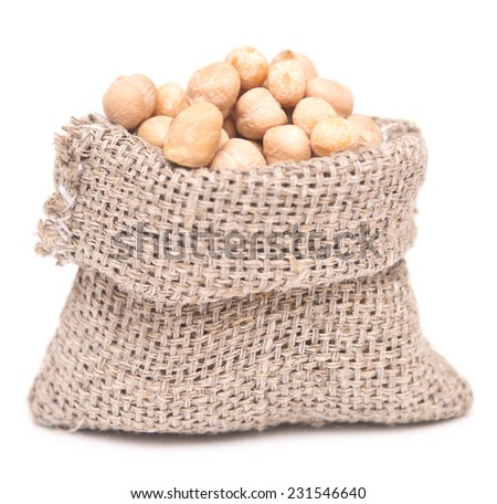 chick peas in a sack on a white background