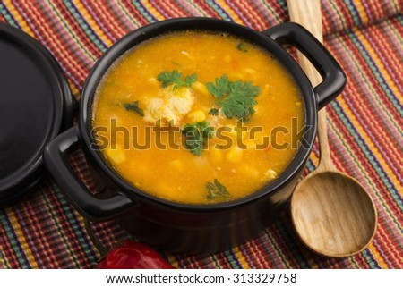 Chicken and corn soup - stock photo