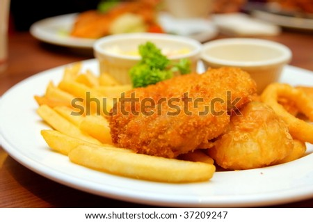 Chicken and fish cutlets with french fries
