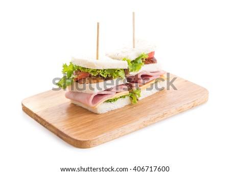 chicken and ham sandwich on white background - stock photo