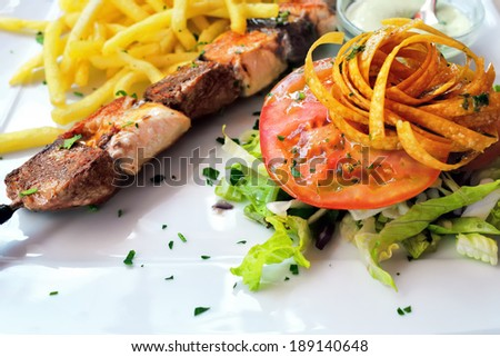 Chicken and lamb shish kebab served on white plate with caramelized onions, tomatoes, fried potatoes and mayonnaise garlic sauce - stock photo