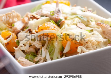 chicken and mandarin orange summer salad with toasted almonds