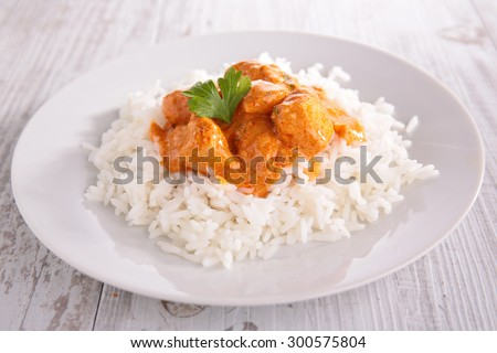 chicken and rice - stock photo