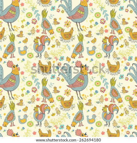 Chicken and rooster cartoon seamless pattern, cute illustration - stock photo