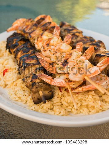 Chicken and shrimp brochette on rice. Very shallow depth of field. - stock photo