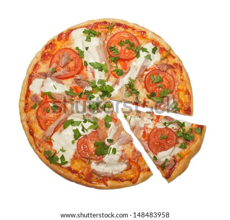 chicken and tomatoes pizza on a white background - stock photo