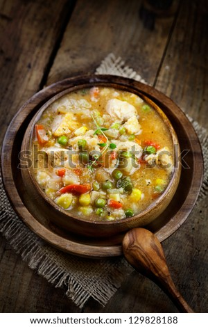 Chicken and veteable stew soup. Healthy eating food - stock photo