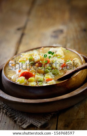 Chicken and veteable stew soup. Healthy eating food
