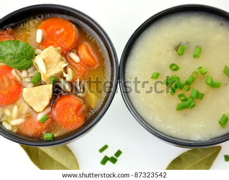 Chicken And Wild Rice Soup And Potato Cream Soup, Top View - stock photo