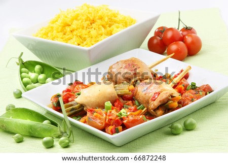 Chicken Asian meat plate with vegetables and rice - stock photo