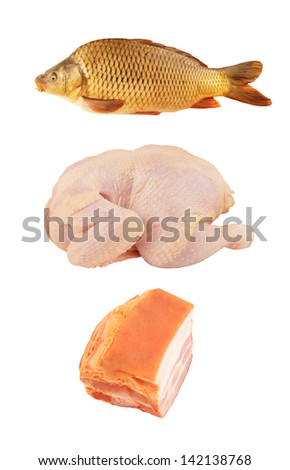 Chicken, bacon and carp fish isolated on white - stock photo