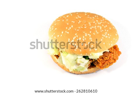 chicken berger isolate on white background