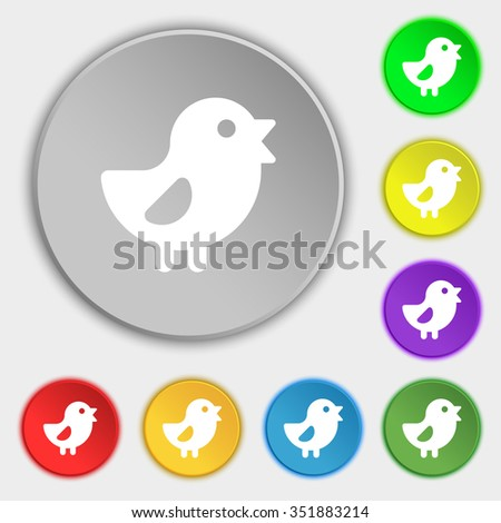 chicken, Bird icon sign. Symbol on five flat buttons. illustration - stock photo
