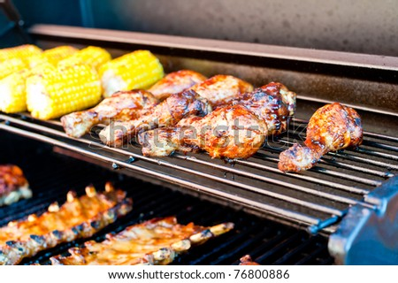 Chicken bones on the grill - stock photo